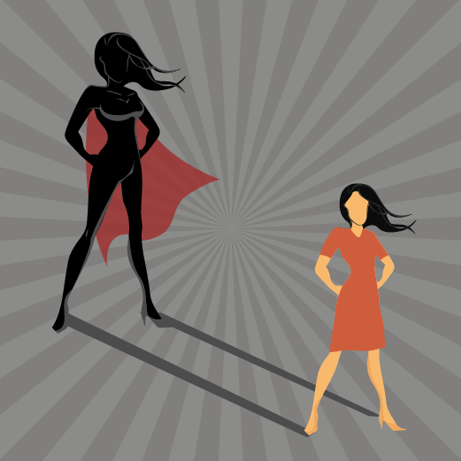 image of woman standing with superhero shadow