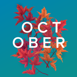 image of word october on background of leaves