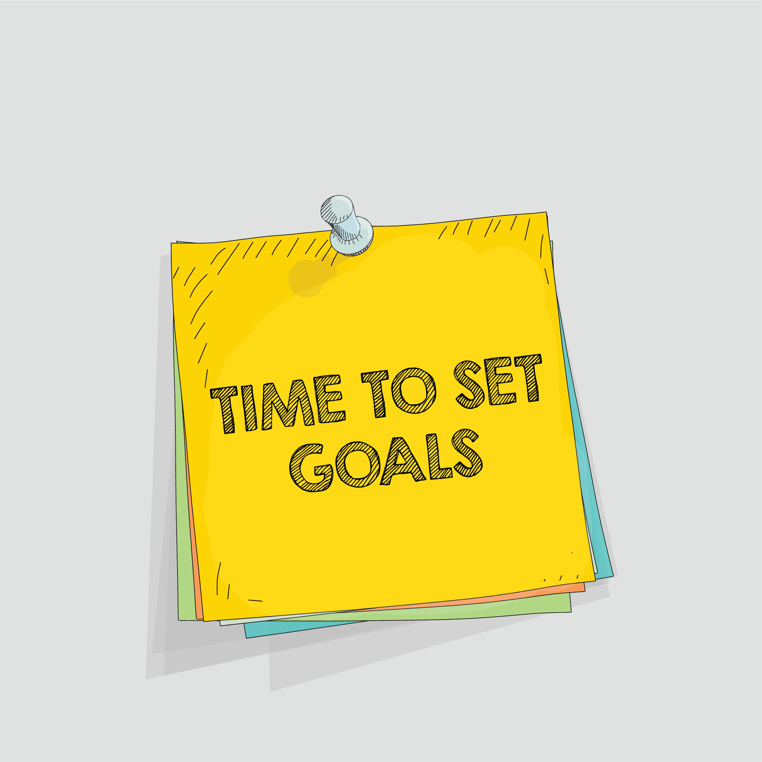 image of post it note reading time to set goals