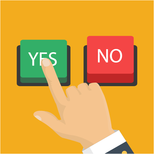 image of yes no button