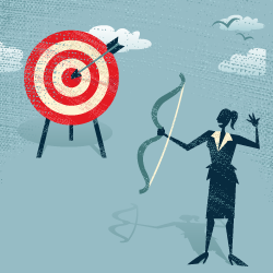image of business woman aiming arrow at target