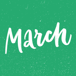 image of march text on green background