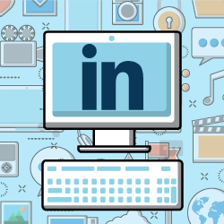 image of computer with LinkedIn logo