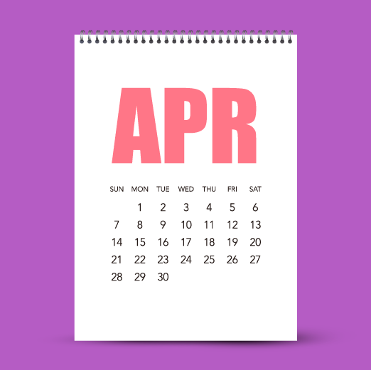 image of April calendar page