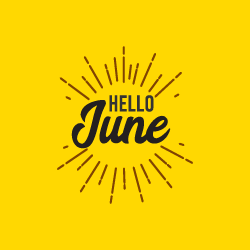 image of word June on yellow background