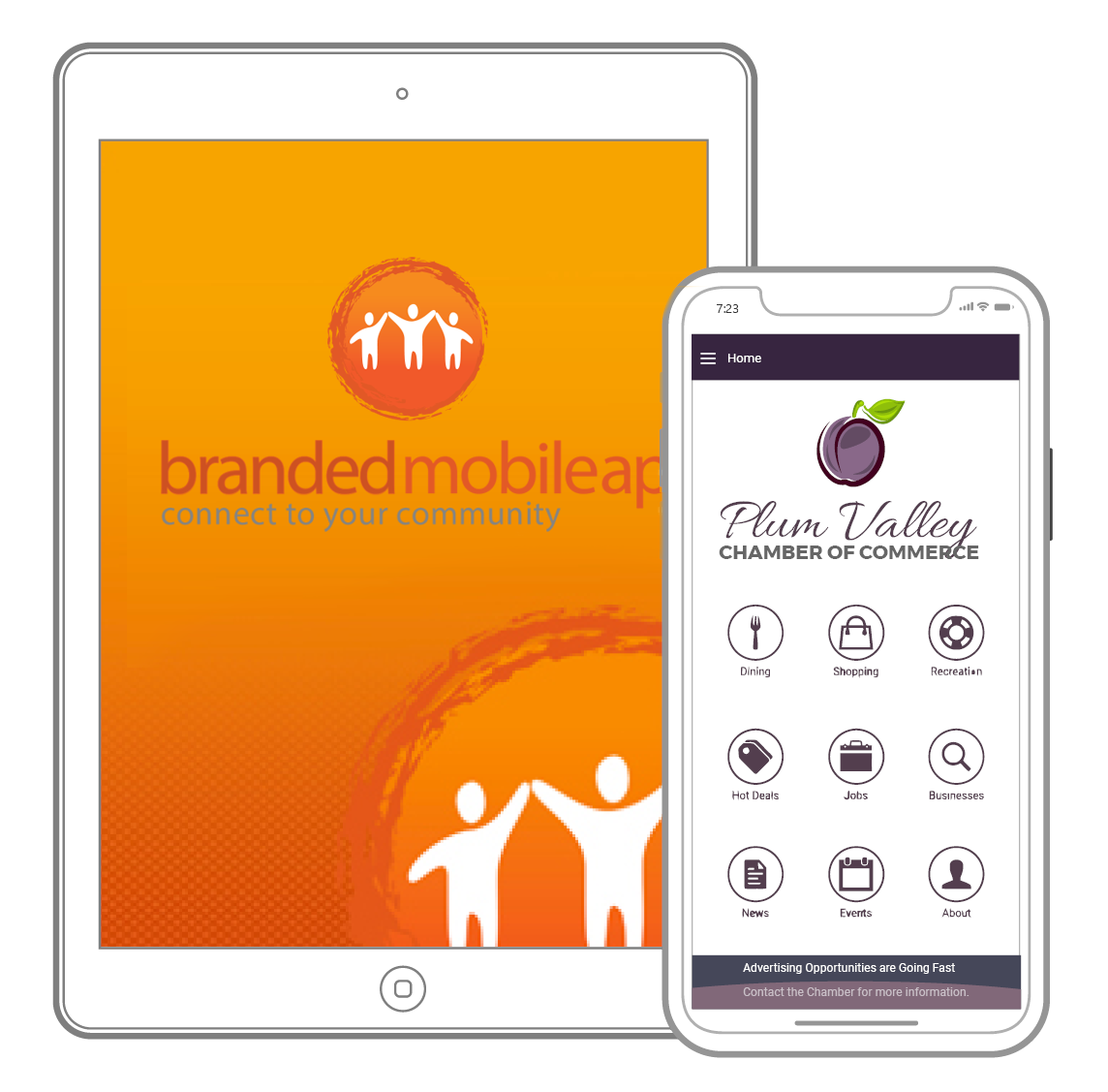 image of branded app tablet and mobile screen
