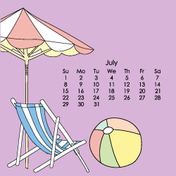 image of beach scene with July calendar