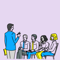 image of man presenting to group