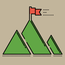 image of mountain with flag on top